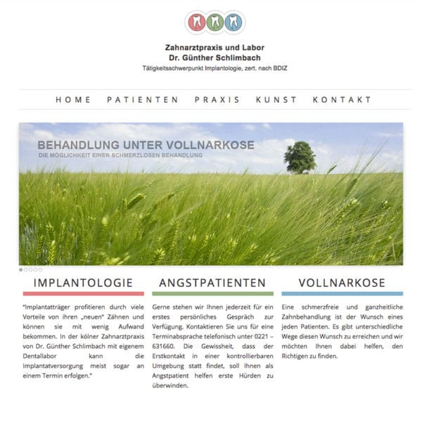 Webdesign und Marketing für die Zahnarztpraxis Dr. Schlimbach