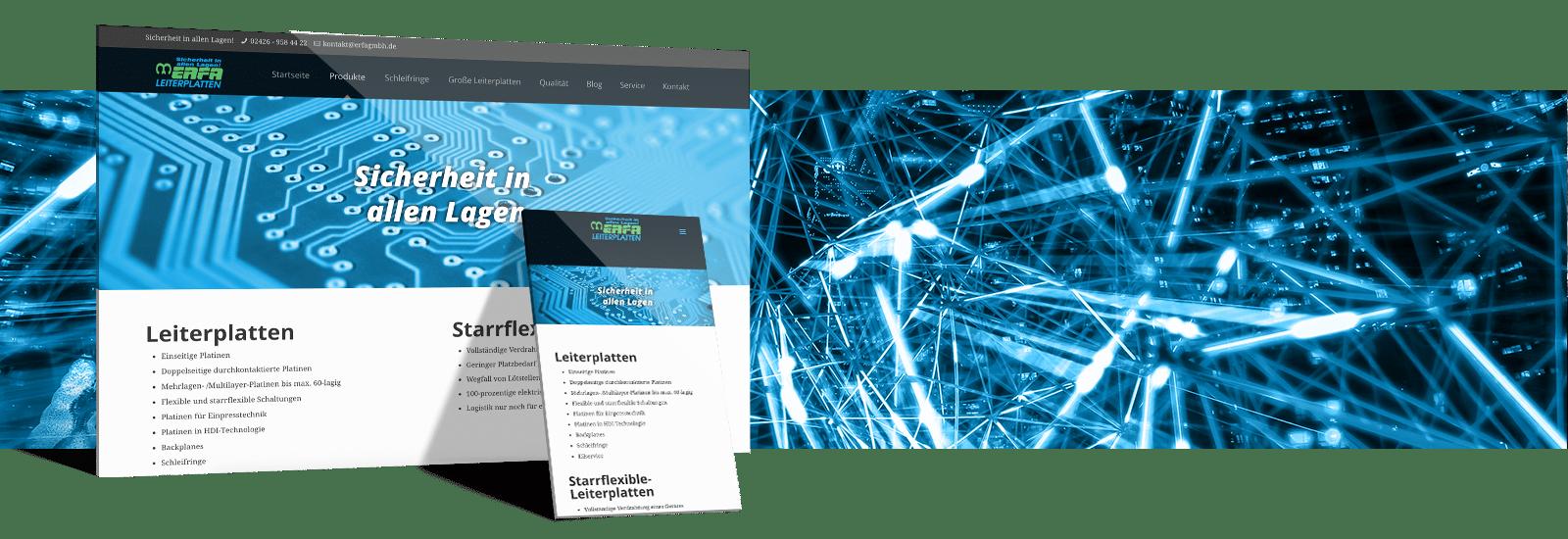 Elektriker Website Referenz - Erfa Leiterplatten