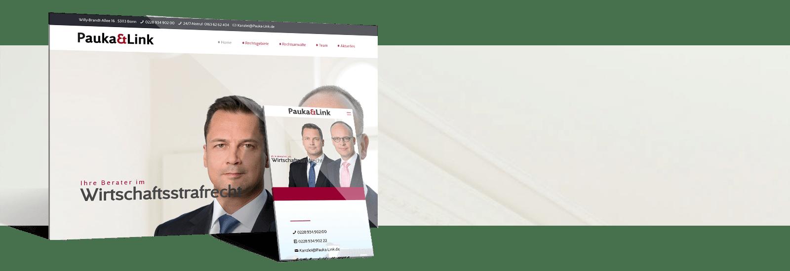 Kanzlei Homepage von Pauka und Link erstellt durch webdesign.koeln