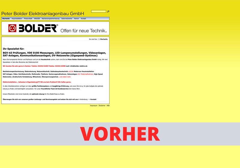Bolder - Vorher Webseite Referenz - Webdesign Koeln