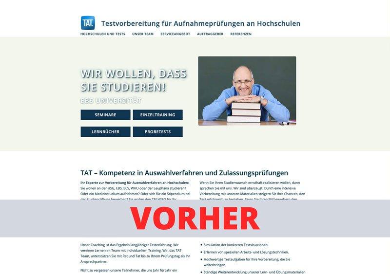 TAT - Vorher Webseite Referenz - Webdesign Koeln